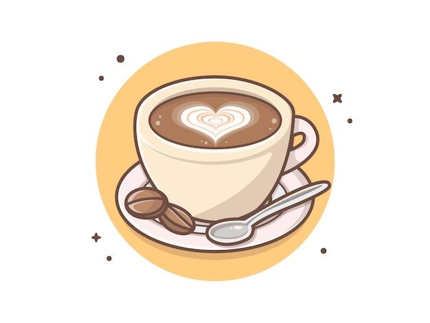 Manhã uma xícara de café com colher e amor sinal vector clip-art ilustração Vetor Premium