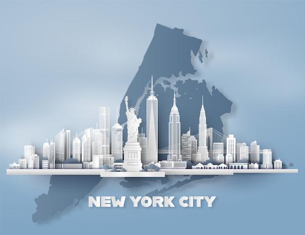 Manhattan, cidade nova iorque, com, urbano, arranha-céus, Vetor Premium