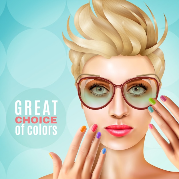 Manicure modelo feminino fundo Vetor grátis