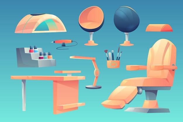 Manicure, móveis de salão de pedicure, conjunto de aparelhos Vetor grátis