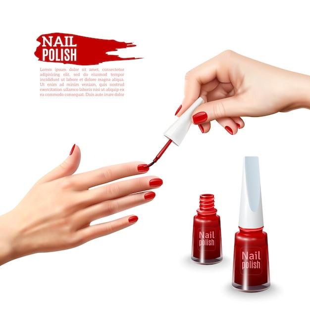 Manicure nail polish hands realistic poster Vetor grátis