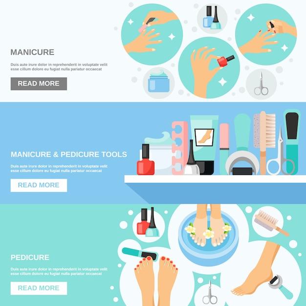 Manicure pedicure ferramentas flat banners Vetor grátis