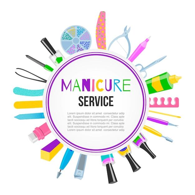 Manicure pedicure ferramentas setnail polonês, tesoura, polonês, creme, vista de laca. manicure de letras. estúdio de unhas, banner de salão. Vetor Premium