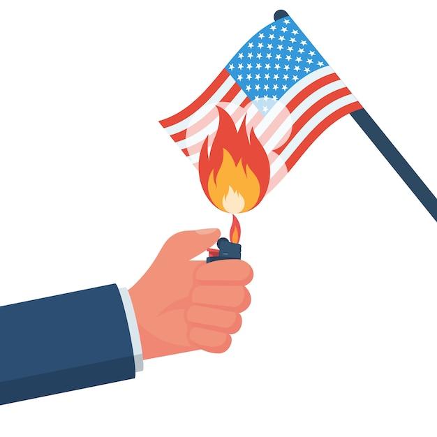 Manifestante ateia fogo à bandeira americana Vetor Premium