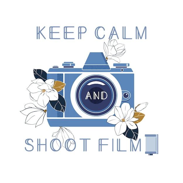 Mantenha a calma e filme Vetor Premium