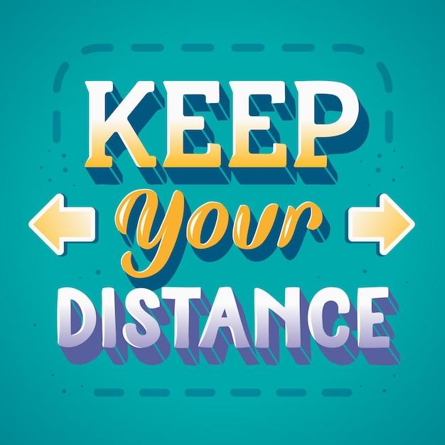 Mantenha a sua distância lettering com setas Vetor grátis