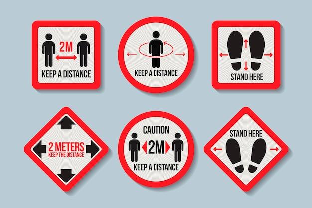Mantenha distância - recolha de sinais Vetor grátis