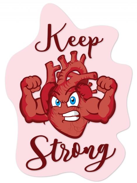 Mantenha o coração forte Vetor Premium