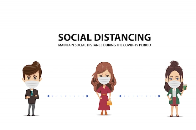 Mantenha o distância social durante o período covid-19. pare coronavirus. Vetor Premium