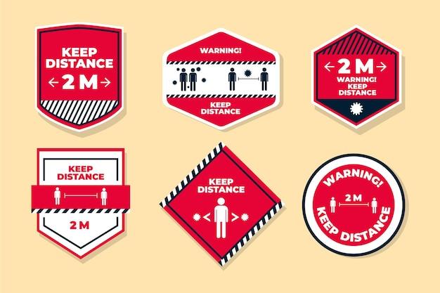 Mantenha seu pacote de sinais de distância Vetor grátis