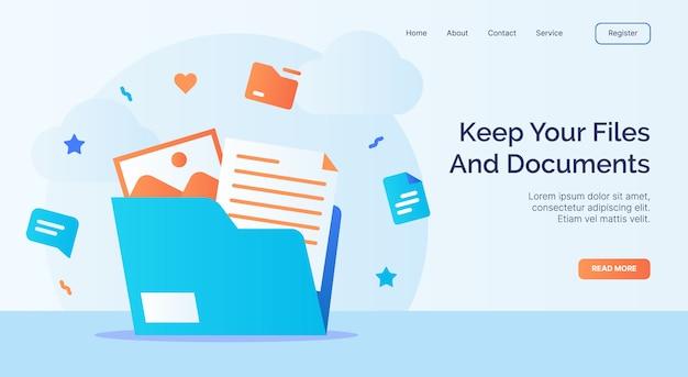 Mantenha sua campanha de ícone de pasta de arquivos de arquivos e documentos para o modelo de destino de página inicial do site da web com estilo cartoon Vetor Premium
