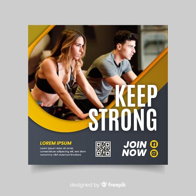 Mantenha um folheto esportivo forte com foto Vetor grátis