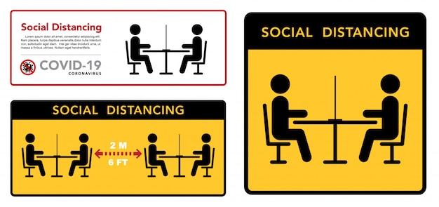Mantenha uma distância social em restaurantes e cafés. as mesas dos visitantes estão localizadas a uma distância segura. Vetor Premium