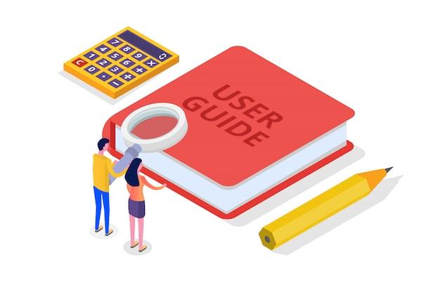 Manual do usuário, guia, instruções, guia, conceito isométrico do manual. ilustração. Vetor Premium