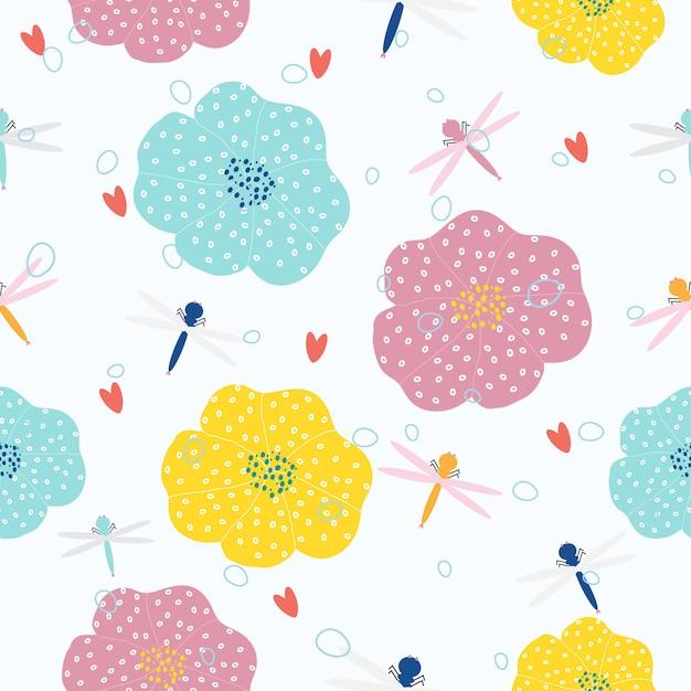 Mão abstrata desenhada flores sem costura de fundo Vetor Premium