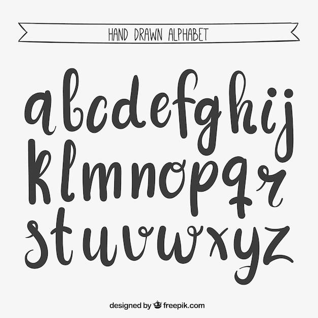 Mão alfabeto escrito Vetor grátis