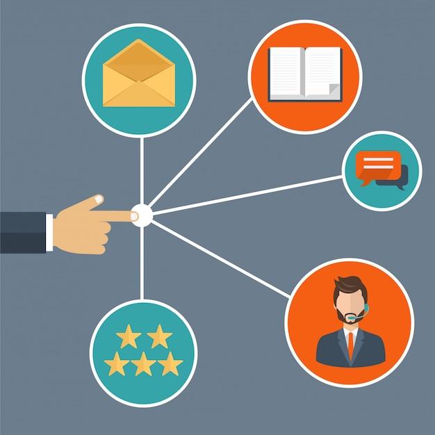 Mão apresentando gerenciamento de relacionamento com clientes Vetor grátis