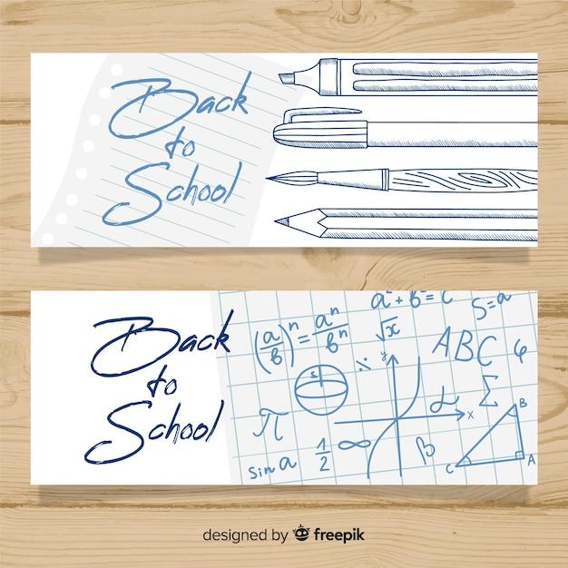 Mão atraído de volta para banners de escola Vetor grátis