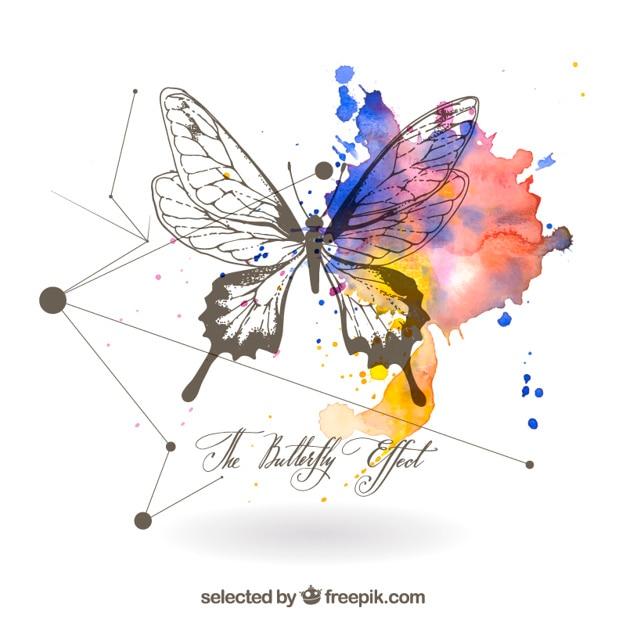 Mão borboleta desenhada Vetor grátis