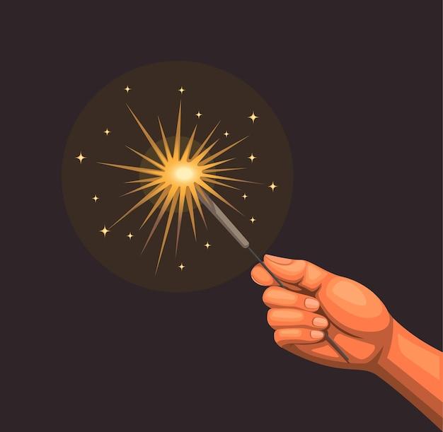 Mão brincando com o conceito de fogos de artifício em chamas na ilustração dos desenhos animados Vetor Premium