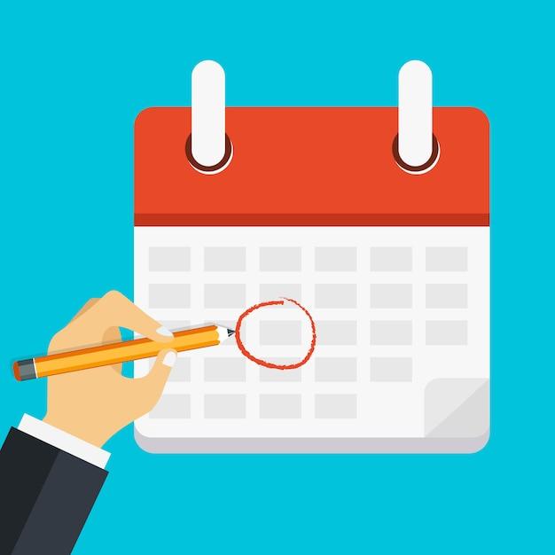 Mão, caneta, marca, calendário Vetor Premium