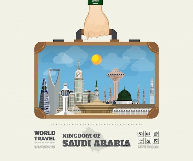 Mão carregando arábia saudita marco global viagens e viagem infográfico saco. Vetor Premium