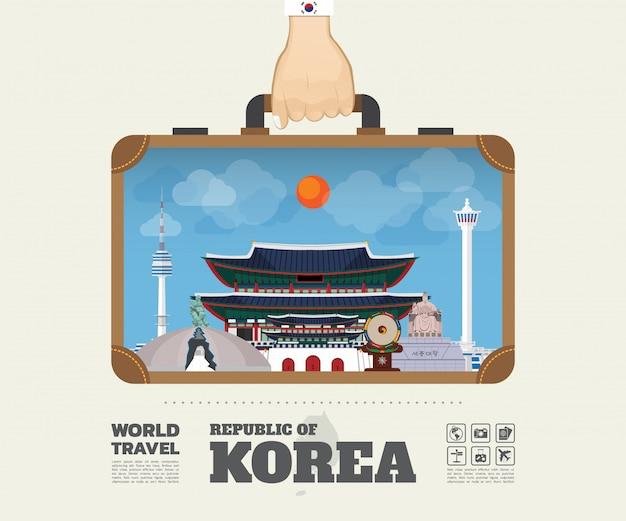 Mão carregando coréia marco global viagens e viagem infográfico saco. Vetor Premium