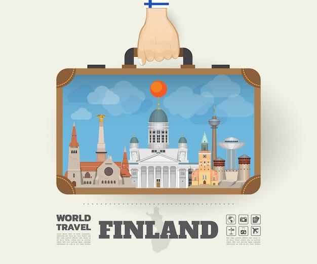 Mão carregando saco de infográfico de viagens e viagem marco global da finlândia Vetor Premium