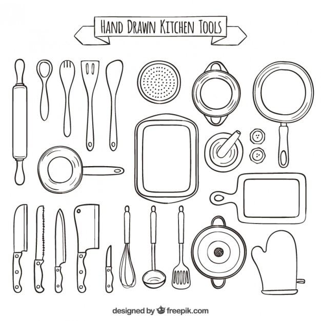 Mão coleção desenhada de ferramentas de cozinha Vetor Premium