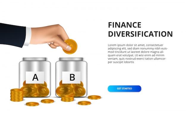 Mão colocar moeda de ouro na garrafa de vidro para financiar o investimento de lucro de diversificação Vetor Premium