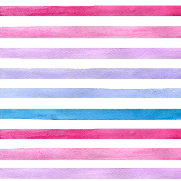 Mão colorida extraídas aquarela sem costura padrão real com tiras horizontais azuis, rosa e roxas Vetor grátis