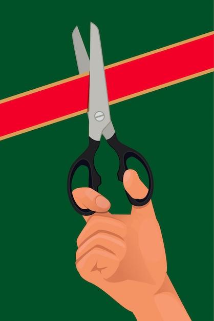 Mão, com, a, tesouras, corte, a, fita vermelha Vetor Premium