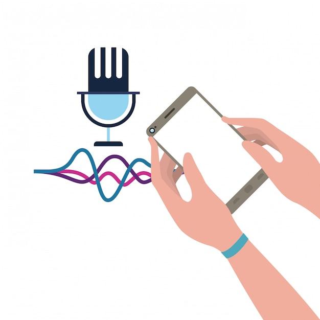 Mão com assistente de smartphone e voz Vetor Premium