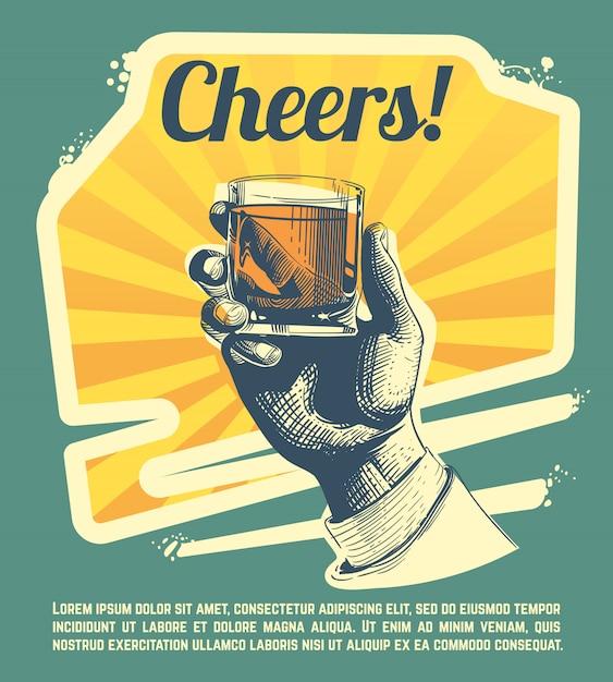 Mão com copo de bebida. poster retro do partido. felicidades banner festa, mão com forte uísque Vetor Premium