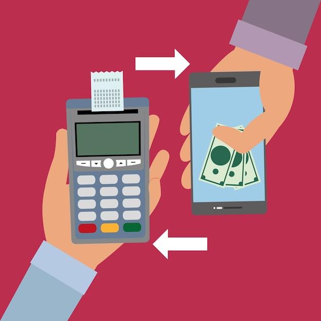 Mão com dataphone com recibo e smartphone com contas Vetor Premium
