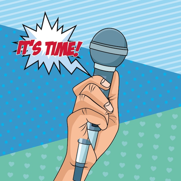 Mão com ícone de estilo pop art de microfone Vetor Premium