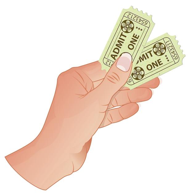Mão com ingressos de cinema Vetor Premium