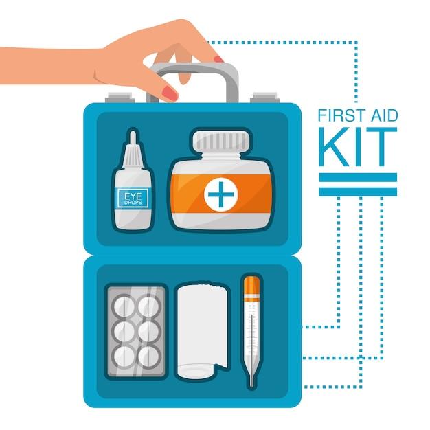 Mão com kit de primeiros socorros com ferramentas médicas Vetor Premium