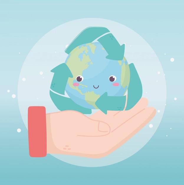 Mão com mundo reciclar setas ambiente ecologia Vetor Premium