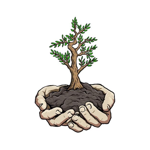 Mão com planta para ir cartaz de campanha verde Vetor Premium