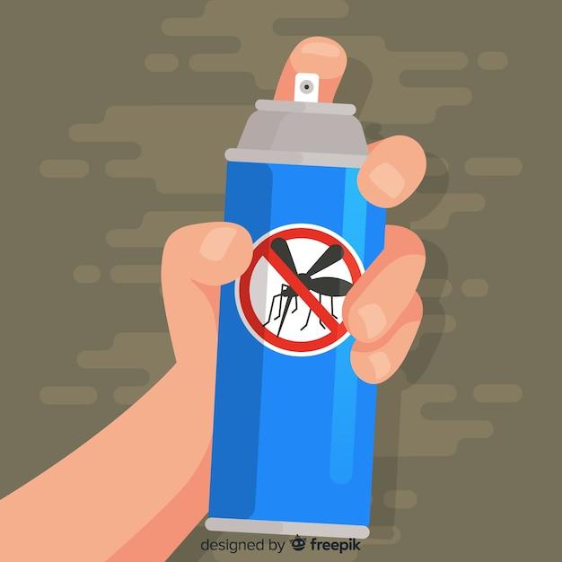 Mão com spray de mosquito Vetor grátis
