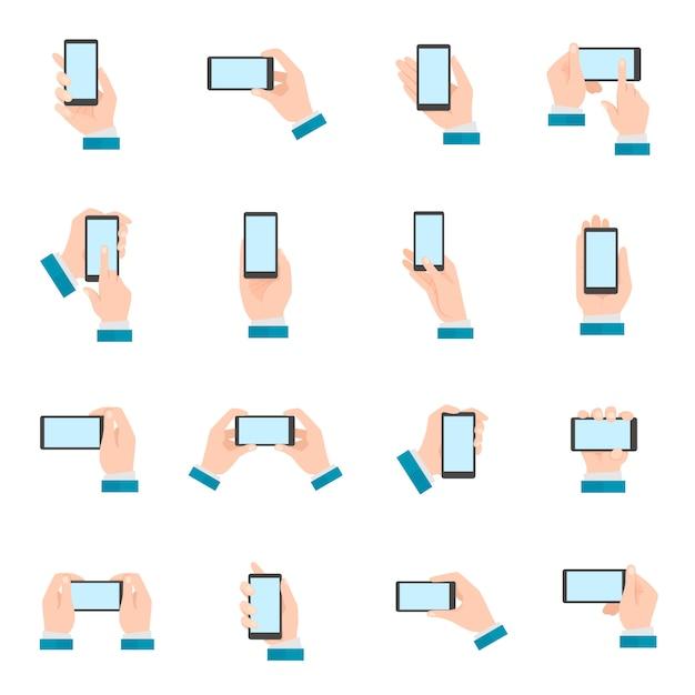 Mão, com, telefone, ícones Vetor Premium