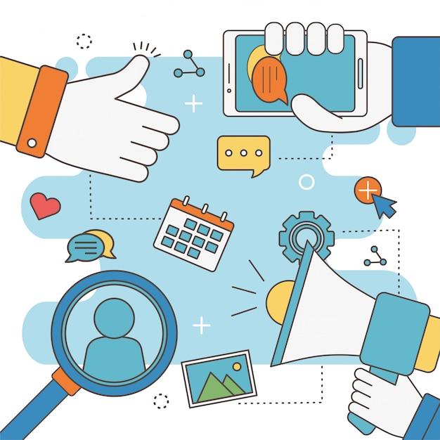 Mão como alto-falante móvel bate-papo calendário análise rede mídia social Vetor Premium