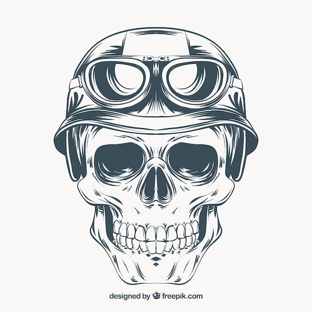 Mão crânio tirada com capacete e óculos Vetor Premium