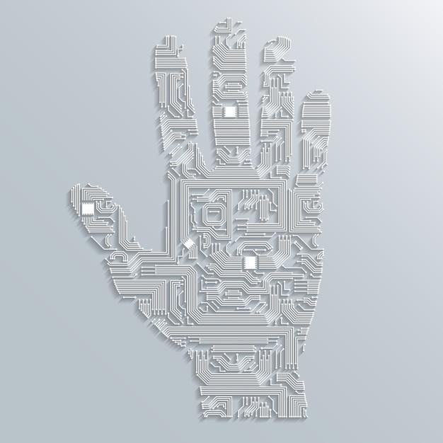 Mão da placa de circuito Vetor grátis