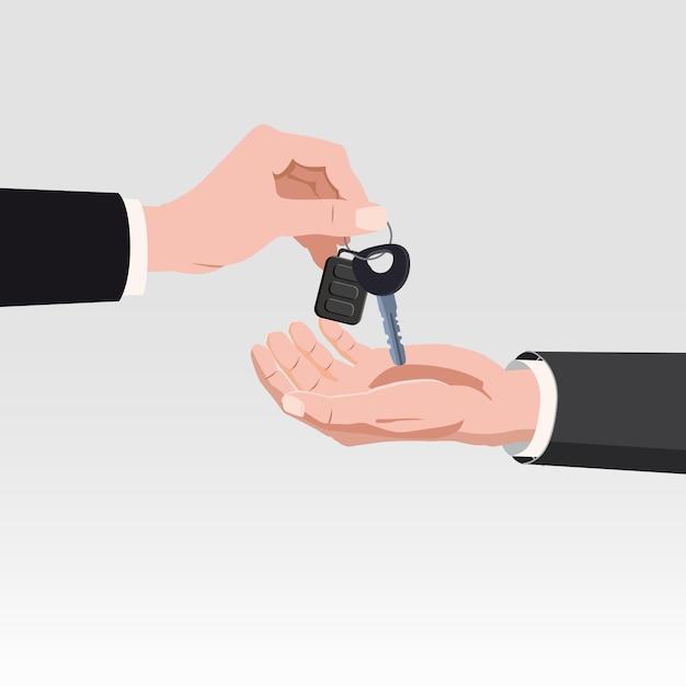 Mão dando as chaves do carro com sistema de alarme. conceito de aluguel ou venda de carro Vetor Premium