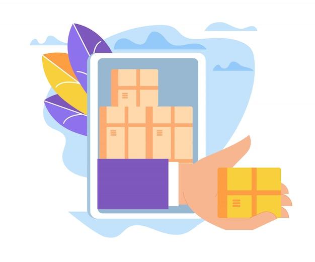 Mão dando caixa através da tela do smartphone, vendas. Vetor Premium