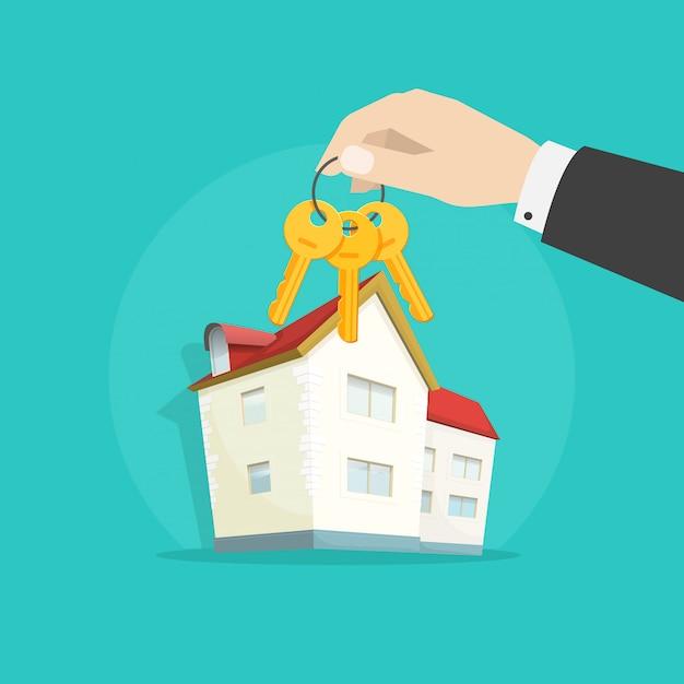 Mão dando chaves de propriedade forma casa como presente ilustração plana dos desenhos animados Vetor Premium