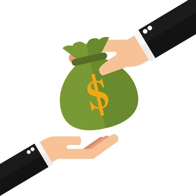 Mão dando dinheiro para outro lado Vetor Premium
