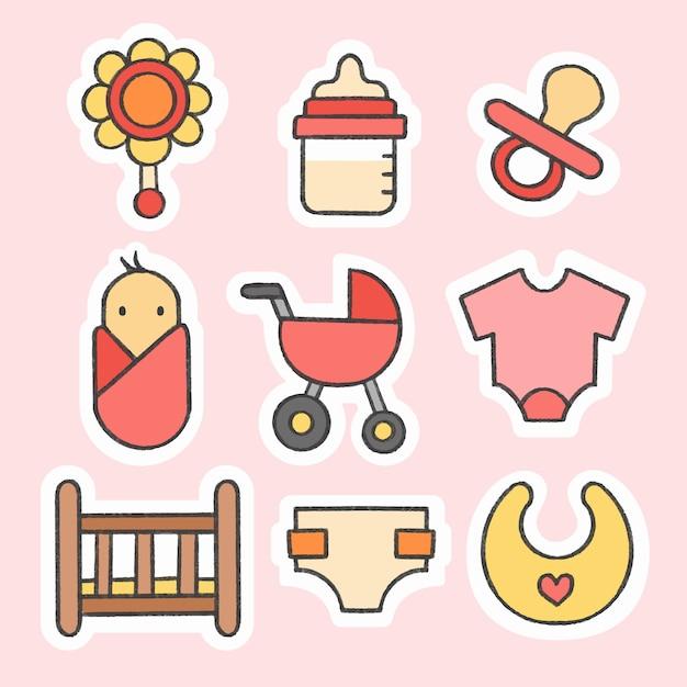 Mão de adesivo de bebê desenhado coleção de desenhos animados Vetor Premium